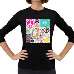Peace Collage Women s Long Sleeve T Shirt (dark Colored)