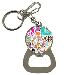 Peace Collage Bottle Opener Key Chain