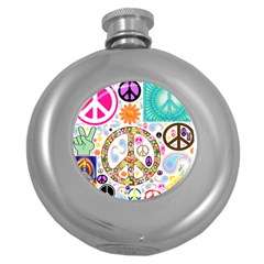 Peace Collage Hip Flask (round)