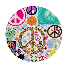 Peace Collage Round Ornament (two Sides) by StuffOrSomething