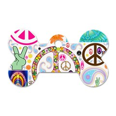 Peace Collage Dog Tag Bone (one Sided)