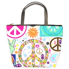 Peace Collage Bucket Handbag