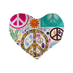 Peace Collage 16  Premium Heart Shape Cushion  by StuffOrSomething