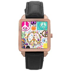 Peace Collage Rose Gold Leather Watch  by StuffOrSomething