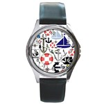 Nautical Collage Round Leather Watch (Silver Rim)