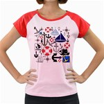 Nautical Collage Women s Cap Sleeve T-Shirt (Colored)
