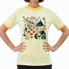 Nautical Collage Women s Ringer T Shirt (colored) by StuffOrSomething