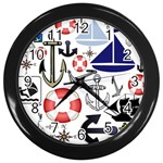 Nautical Collage Wall Clock (Black)