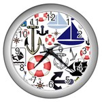 Nautical Collage Wall Clock (Silver)