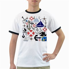 Nautical Collage Men s Ringer T Shirt by StuffOrSomething