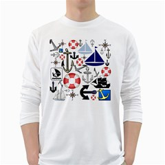 Nautical Collage Men s Long Sleeve T Shirt (white) by StuffOrSomething