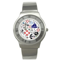 Nautical Collage Stainless Steel Watch (slim) by StuffOrSomething