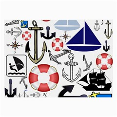 Nautical Collage Glasses Cloth (Large, Two Sided)