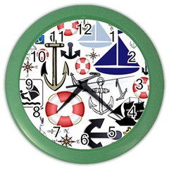 Nautical Collage Wall Clock (color) by StuffOrSomething