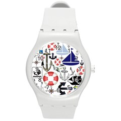 Nautical Collage Plastic Sport Watch (Medium) by StuffOrSomething