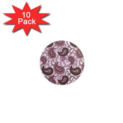 Paisley In Pink 1  Mini Button Magnet (10 Pack) by StuffOrSomething