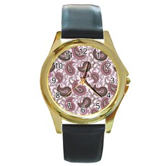 Paisley In Pink Round Leather Watch (gold Rim)