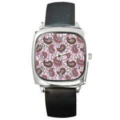 Paisley In Pink Square Leather Watch by StuffOrSomething