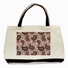 Paisley In Pink Twin Sided Black Tote Bag by StuffOrSomething