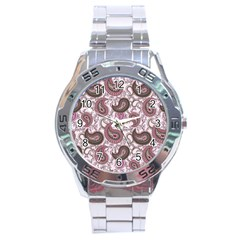 Paisley In Pink Stainless Steel Watch by StuffOrSomething