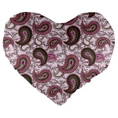 Paisley In Pink 19  Premium Heart Shape Cushion by StuffOrSomething