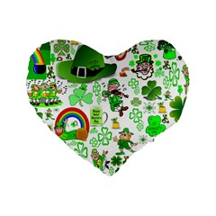 St Patrick s Day Collage 16  Premium Heart Shape Cushion  by StuffOrSomething