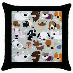 Dog Pattern Black Throw Pillow Case by Contest1771913