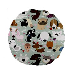 Dog Pattern 15  Premium Round Cushion  by Contest1771913