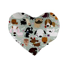 Dog Pattern 16  Premium Heart Shape Cushion  by Contest1771913