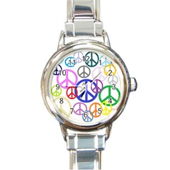Peace Sign Collage Png Round Italian Charm Watch by StuffOrSomething