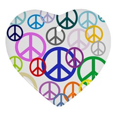 Peace Sign Collage Png Heart Ornament by StuffOrSomething