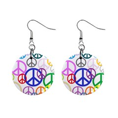 Peace Sign Collage Png Mini Button Earrings