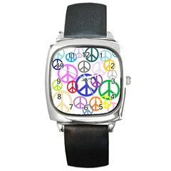 Peace Sign Collage Png Square Leather Watch by StuffOrSomething
