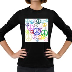 Peace Sign Collage Png Women s Long Sleeve T-shirt (Dark Colored) by StuffOrSomething