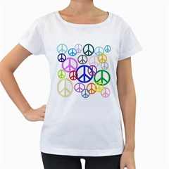 Peace Sign Collage Png Women s Maternity T Shirt (white)