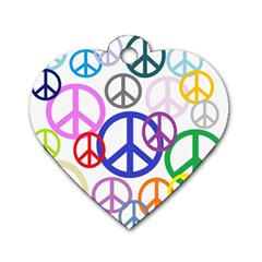 Peace Sign Collage Png Dog Tag Heart (two Sided) by StuffOrSomething