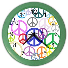 Peace Sign Collage Png Wall Clock (color) by StuffOrSomething