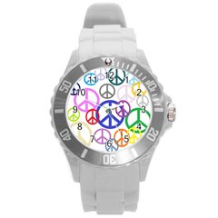 Peace Sign Collage Png Plastic Sport Watch (large) by StuffOrSomething