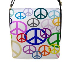 Peace Sign Collage Png Flap Closure Messenger Bag (large)