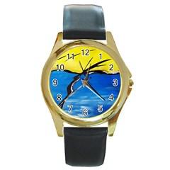 Spring Round Leather Watch (gold Rim)  by Siebenhuehner