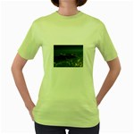 Skeleton Castaway and Shark Fantasy Women s Green T-Shirt