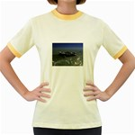 Skeleton Castaway and Shark Fantasy Women s Fitted Ringer T-Shirt