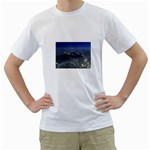 Skeleton Castaway and Shark Fantasy White T-Shirt