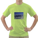 Skeleton Castaway and Shark Fantasy Green T-Shirt
