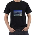 Skeleton Castaway and Shark Fantasy Black T-Shirt