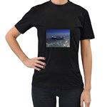 Skeleton Castaway and Shark Fantasy Women s Black T-Shirt