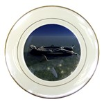 Skeleton Castaway and Shark Fantasy Porcelain Plate