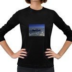 Skeleton Castaway and Shark Fantasy Women s Long Sleeve Dark T-Shirt