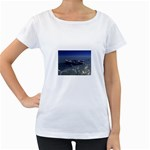 Skeleton Castaway and Shark Fantasy Maternity White T-Shirt
