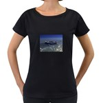 Skeleton Castaway and Shark Fantasy Maternity Black T-Shirt